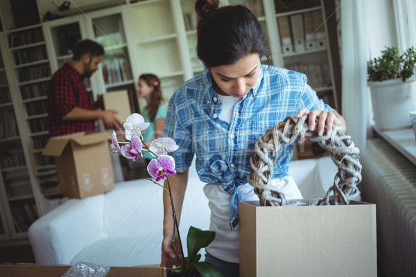 Woman unpacking cartons while family standing in background Stock photo © wavebreak_media