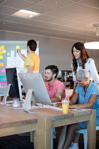 Creative business team working together on desktop pc Stock photo © wavebreak_media