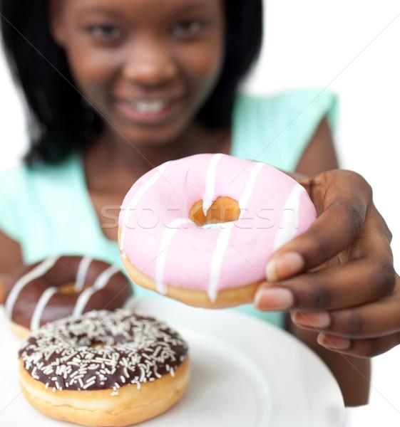 若い女性 ドーナツ 白 健康 チョコレート ストックフォト © wavebreak_media