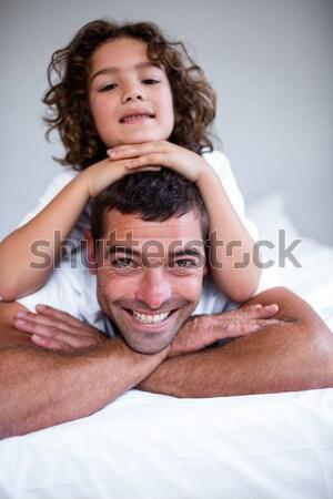 Gülümseyen kadın iç çamaşırı rahatlatıcı yüz moda ev Stok fotoğraf © wavebreak_media