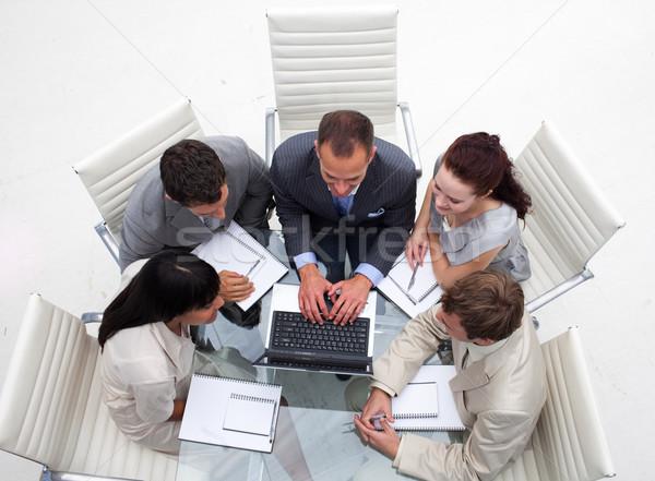 Magasról fotózva üzleti csapat együtt dolgozni iroda laptop számítógép Stock fotó © wavebreak_media
