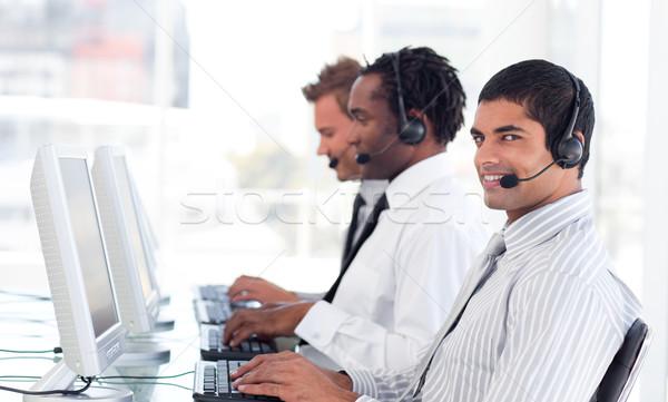 Stockfoto: Drukke · team · call · center · business · telefoon · internet