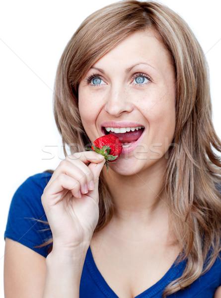 ярко женщину еды клубники белый счастливым Сток-фото © wavebreak_media