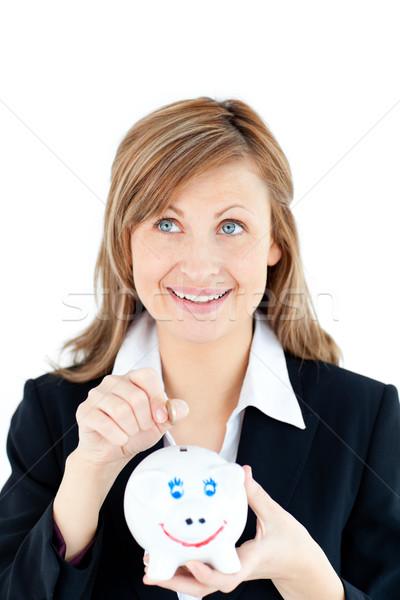 Caucasiano mulher dinheiro branco espaço Foto stock © wavebreak_media