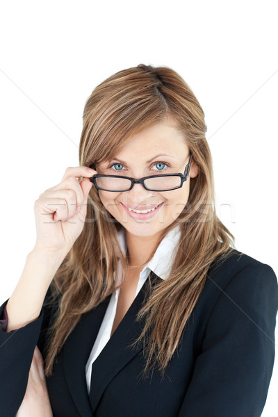 Portret zakenvrouw bril witte achtergrond Stockfoto © wavebreak_media