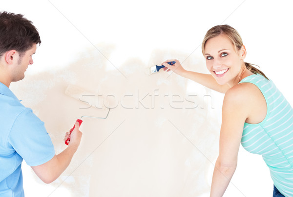 Foto stock: Sonriendo · Pareja · pintura · habitación · casa