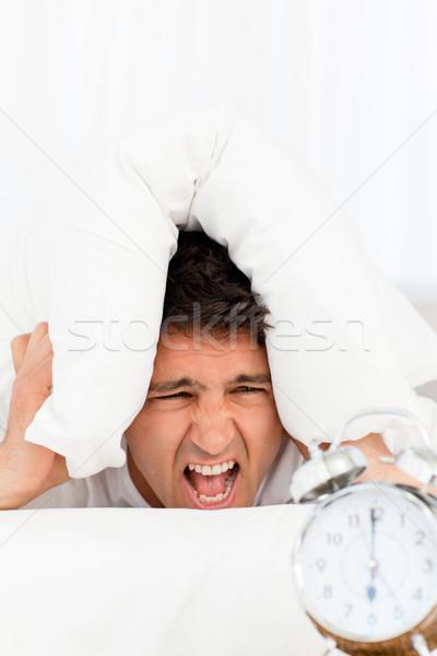 Unglücklich Mann schreien Wecker Arbeit Schlaf Stock foto © wavebreak_media