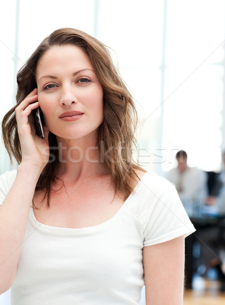 Confident businesswoman on the phone while her team is working in the background Stock photo © wavebreak_media