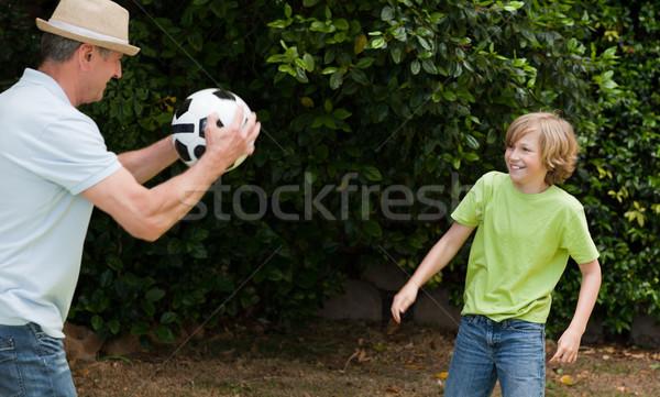 Nagyapa unoka játszik futball futball jókedv Stock fotó © wavebreak_media