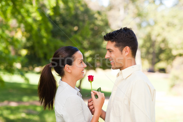 Happy man offering a rose to his girlfriend Stock photo © wavebreak_media