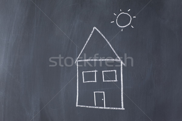 House and sun on a blackboard Stock photo © wavebreak_media