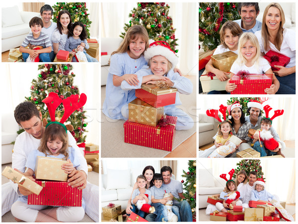 Collage Familien Weihnachten zusammen home Stock foto © wavebreak_media