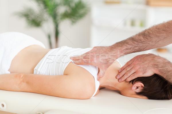 Homem pescoço quarto mão esportes Foto stock © wavebreak_media