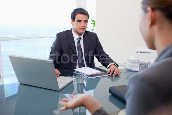 üzleti csapat megbeszélés iroda üzlet munka laptop Stock fotó © wavebreak_media