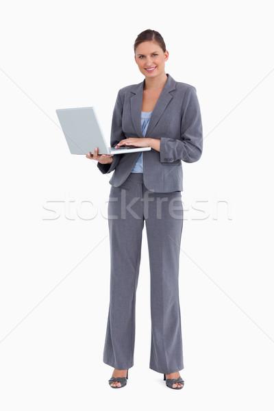 Sorridere notebook bianco computer internet lavoro Foto d'archivio © wavebreak_media
