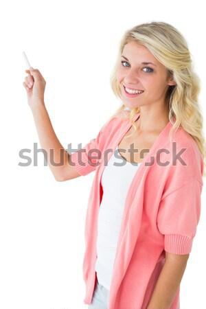 Souriant jeune femme bras doigts menton heureux Photo stock © wavebreak_media