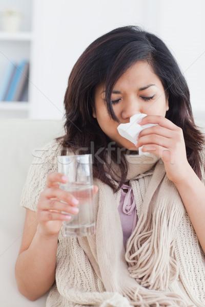 Сток-фото: больным · женщину · сморкании · гостиной · кофе · окна