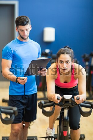 Five people at spinning class Stock photo © wavebreak_media