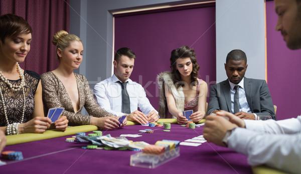 Menschen poker Tabelle Casino Hand Mann Stock foto © wavebreak_media