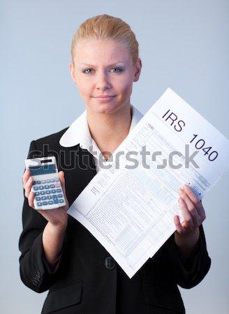 女性実業家 読む バーチャル 新聞 白 グラフ ストックフォト © wavebreak_media