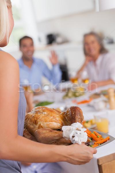 Mulher Turquia mesa de jantar mulher loira ação de graças família Foto stock © wavebreak_media