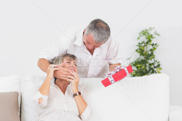 Old man hiding eyes his wife to give a gift Stock photo © wavebreak_media