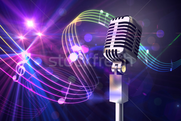 Composite image of retro chrome microphone Stock photo © wavebreak_media