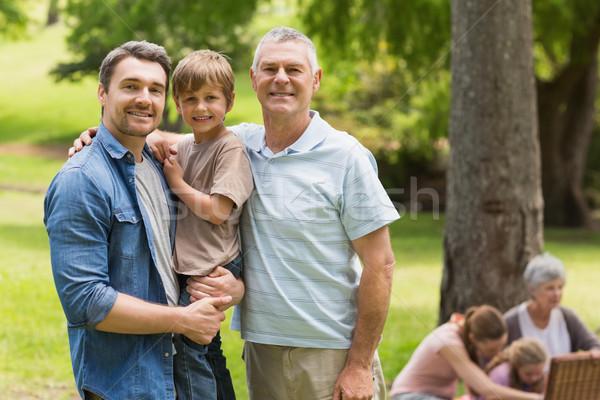 Nagyapa apa fia család park portré nő Stock fotó © wavebreak_media