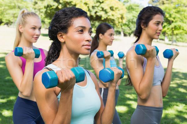 Több nemzetiségű nők emel súlyzók csoport sportos Stock fotó © wavebreak_media