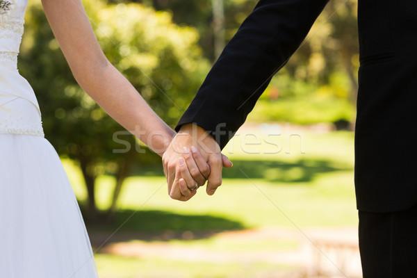Newlywed paar holding handen park extreme Stockfoto © wavebreak_media