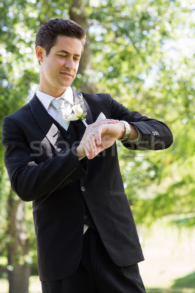 Bridegroom checking time in garden Stock photo © wavebreak_media