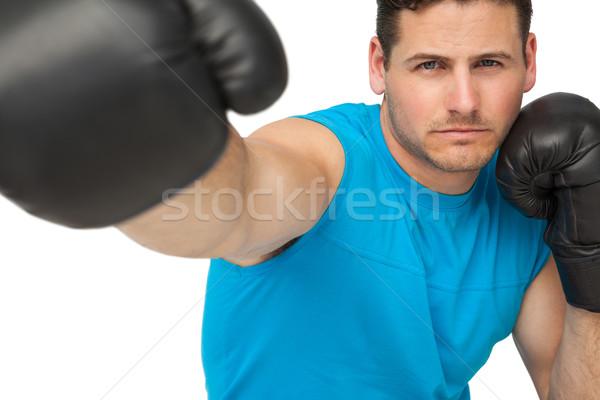 Közelkép határozott férfi boxoló fókuszált képzés Stock fotó © wavebreak_media