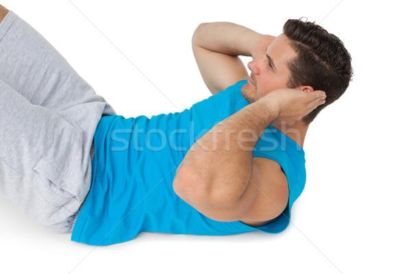 Zijaanzicht man abdominaal jonge man sport gezondheid Stockfoto © wavebreak_media