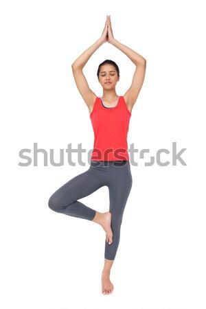 Geschikt vrouw permanente boom pose Stockfoto © wavebreak_media