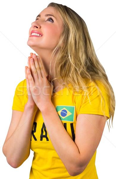 Nervoso futebol ventilador brasil tshirt branco Foto stock © wavebreak_media