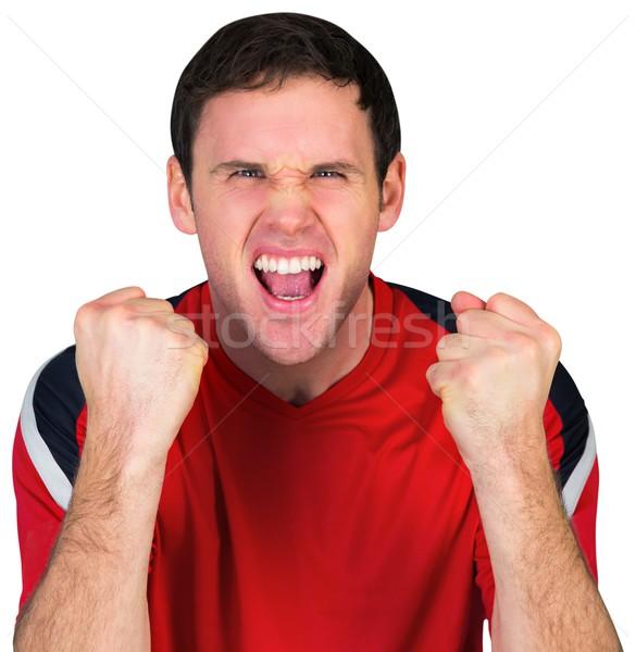 Futebol ventilador vermelho branco homem Foto stock © wavebreak_media