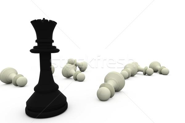 Negro reina pie blanco piezas ajedrez Foto stock © wavebreak_media