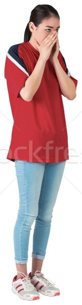 Nerwowy piłka nożna fan czerwony biały energii Zdjęcia stock © wavebreak_media