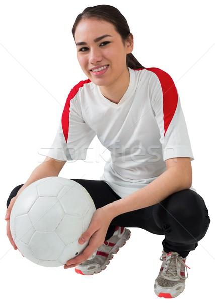 Futball ventillátor fehér tart labda sport Stock fotó © wavebreak_media