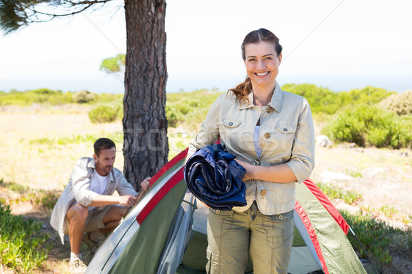 Outdoorsy couple setting up camp in the countryside Stock photo © wavebreak_media