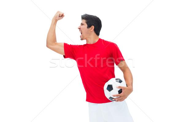 Futbolista rojo pelota blanco Foto stock © wavebreak_media