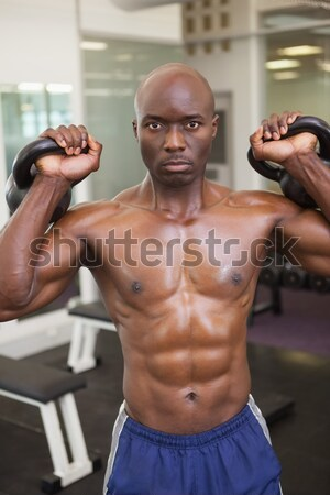 Shirtless muscular man in gym Stock photo © wavebreak_media