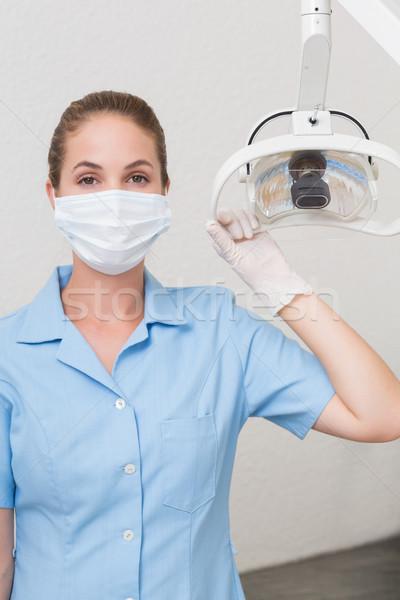 Stomatologicznych asystent maska świetle kliniki Zdjęcia stock © wavebreak_media