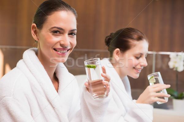 улыбаясь женщины питьевая вода портрет два Сток-фото © wavebreak_media