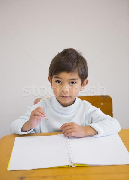 書く 帳 デスク 笑みを浮かべて カメラ 小学校 ストックフォト © wavebreak_media