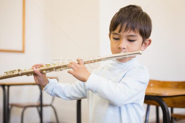 Sevimli oynama flüt sınıf müzik Stok fotoğraf © wavebreak_media