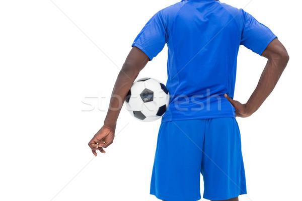 Stock fotó: Hátsó · nézet · középső · rész · futballista · áll · fehér · kéz