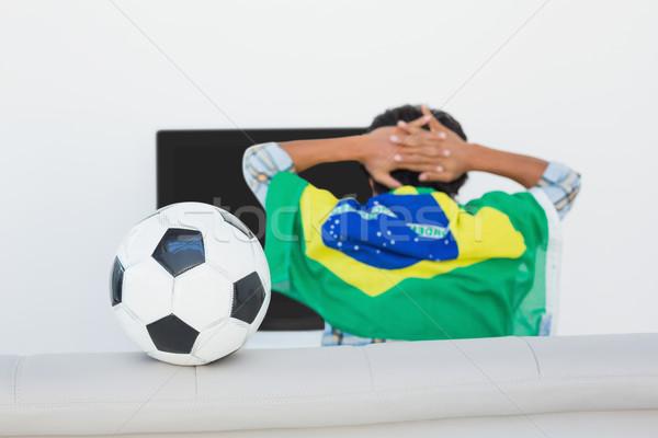 Piłka nożna fan oglądania telewizja widok z tyłu człowiek Zdjęcia stock © wavebreak_media