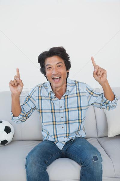 Stock fotó: Boldog · futball · ventillátor · éljenez · néz · tv