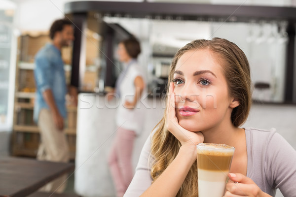 Pretty blonde enjoying a latte Stock photo © wavebreak_media
